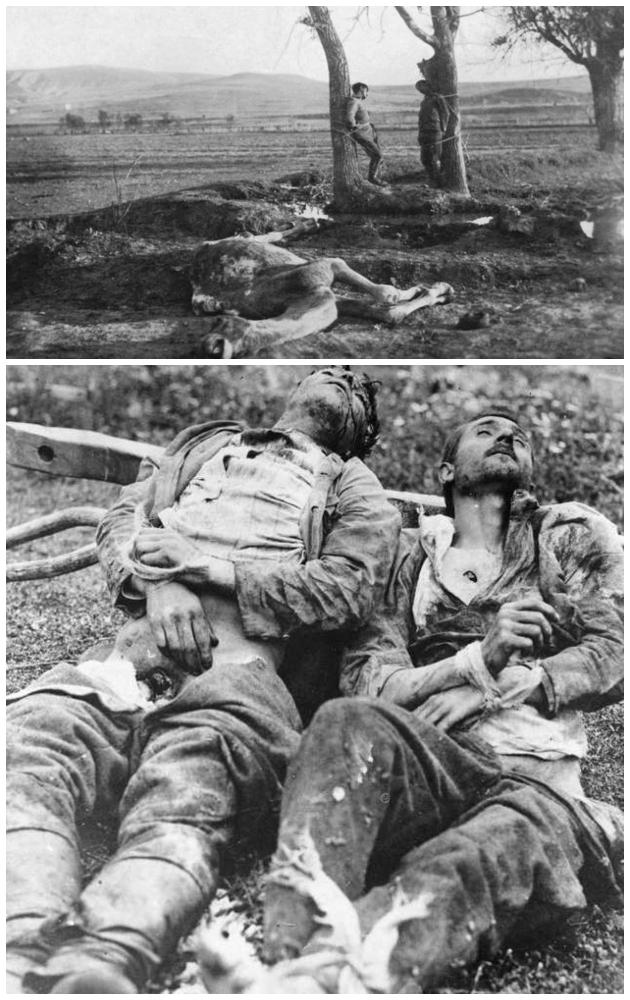 Ελληνες φαντάροι σκοτωμένοι κι ακρωτηριασμένοι από Τούρκους αντάρτες.