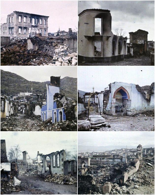 Ουσάκ, Φιλαδέλφεια (Alaşehir), Μαγνησία (Manisa). Τα ερείπια που άφησε πίσω του ο ελληνικός στρατός, φωτογραφημένα τον Ιανουάριο του 1923 από το Αρχείο Αλμπέρ Καν